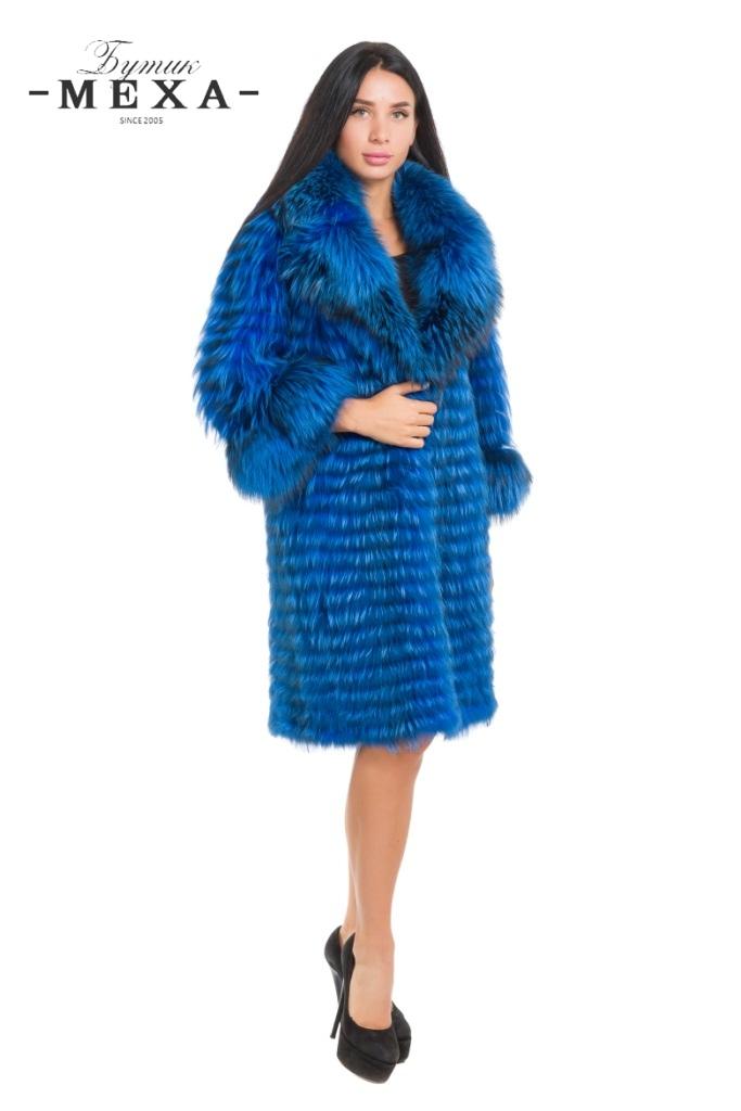 Синее пальто из чернобурки в Бутике Меха на Садоводе